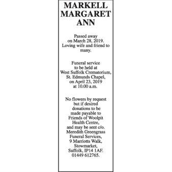 MARGARET ANN MARKELL