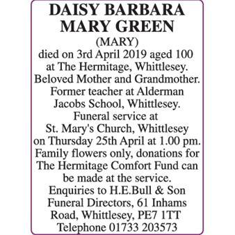 DAISY BARBARA MARY GREEN (MARY)