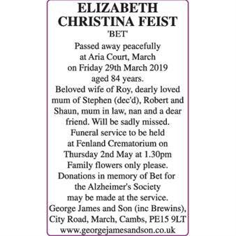 ELIZABETH CHRISTINA FEIST