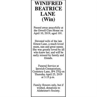 Winifred Beatrice Lane (Win)