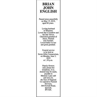 BRIAN JOHN ENGLISH