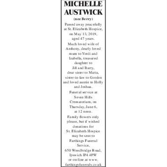 MICHELLE AUSTWICK (nee Berry)