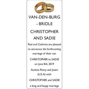 CHRISTOPHER VAN-DEN-BURG and SADIE BRIDLE
