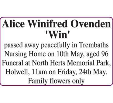 Alice Winifred Ovnden  Win