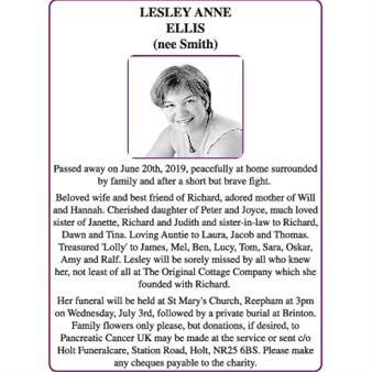 LESLEY ANNE ELLIS (nee Smith)