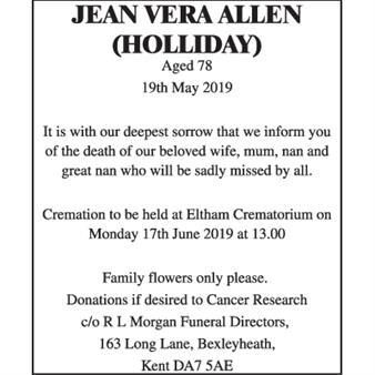 Jean Vera Allen (Holliday)