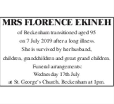 Mrs Florence Ekinah
