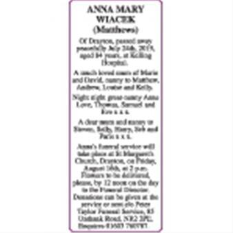ANNA MARY (Matthews) WIACEK