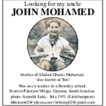 Looking for my uncle JOHN MOHAMED
