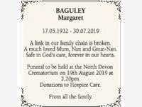 BAGULEY Margaret.  Passed away 30th July 2019.