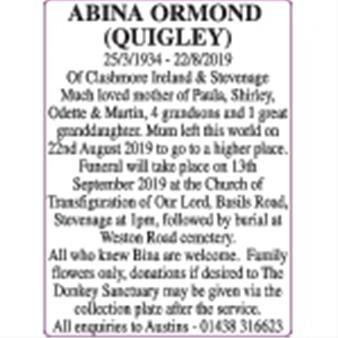Abina Ormond (Quigley)