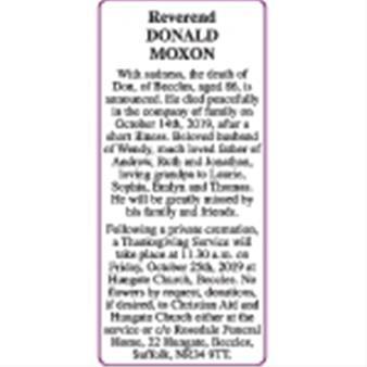 Reverend DONALD MOXON