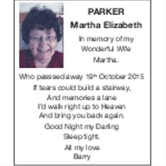 MARTHA ELIZABETH PARKER