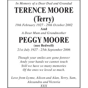 Terence Moore Peggy Moore