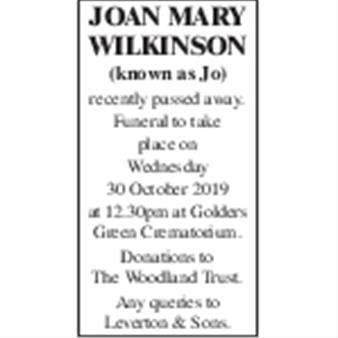 Joan Mary Wilkinson