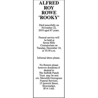 ALFRED ROY ROWE  'ROOKY'
