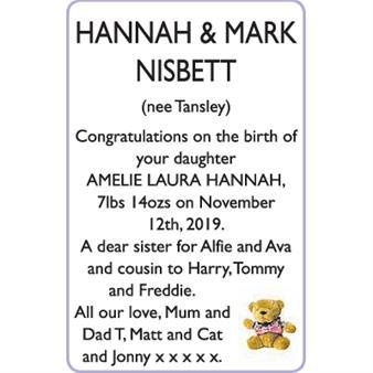 HANNAH and MARK NISBETT