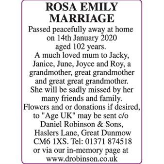 ROSA EMILY MARRIAGE