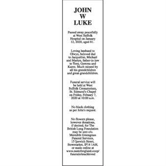 JOHN W LUKE