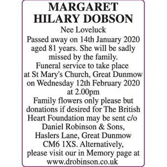 MARGARET HILARY DOBSON