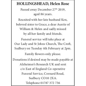 HOLLINGSHEAD HELEN ROSE