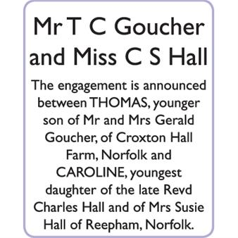 Mr T C GOUCHER and Miss C S HALL