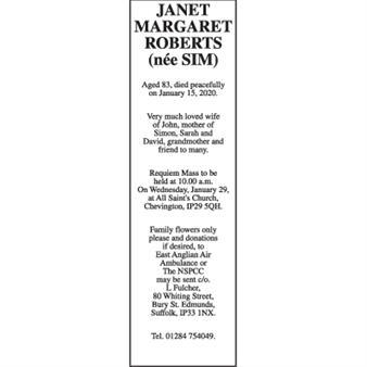 JANET MARGARET ROBERTS (née SIM)