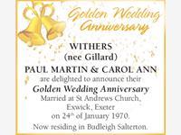 PAUL MARTIN & CAROL ANN WITHERS (nee Gillard)