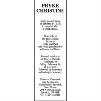 CHRISTINE PRYKE