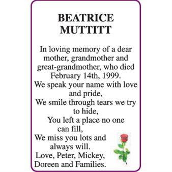 BEATRICE MUTTITT