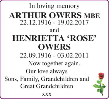 ARTHUR OWERS and HENRIETTA 'ROSE' OWERS