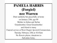 PAMELA HARRIS (Forgiel) nee Warren