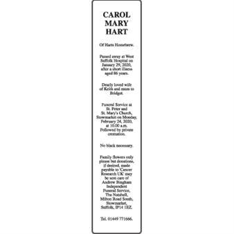 CAROL MARY HART