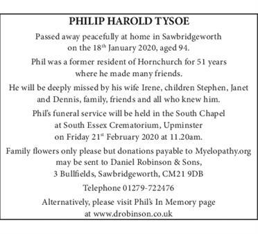 PHILIP HAROLD TYSOE