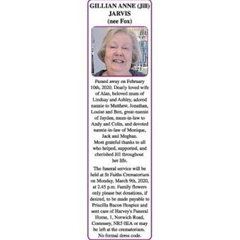 GILLIAN ANNE (Jill) (nee Fox) JARVIS