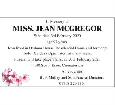 Miss Jean McGregor