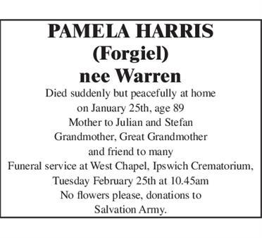 PAMELA HARRIS (Forgiel) nee Warren
