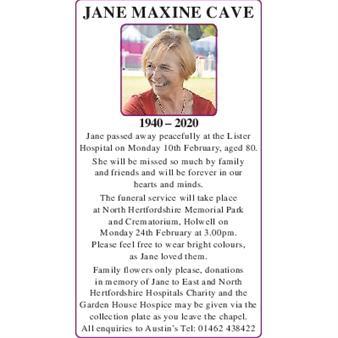 JANE MAXINE CAVE