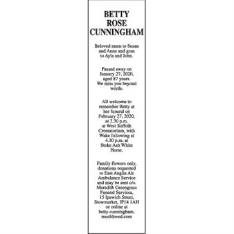 BETTY ROSE CUNNINGHAM