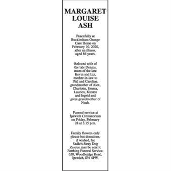 MARGARET LOUISE ASH