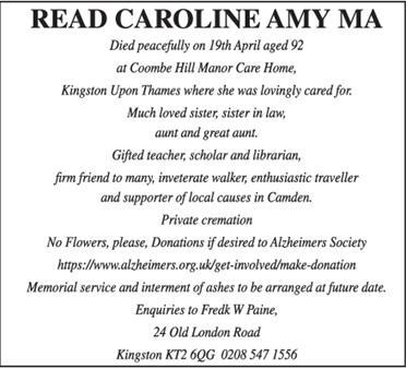 READ CAROLINE AMY MA