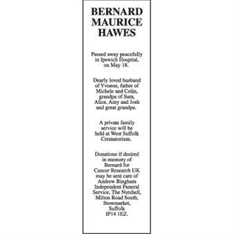 BERNARD MAURICE HAWES