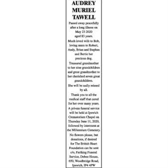 AUDREY MURIEL TAWELL