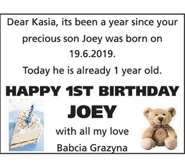 1st birthday Joey