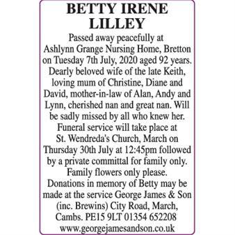 BETTY IRENE LILLEY