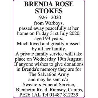 BRENDA ROSE STOKES