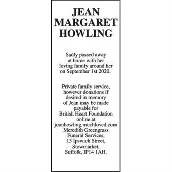 JEAN MARGARET HOWLING