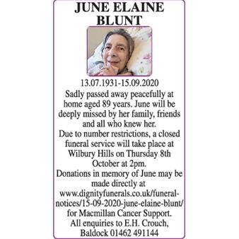 JUNE ELAINE BLUNT