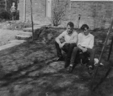 Nell Young's photo collection.Robbie and Pete in Nell's garden