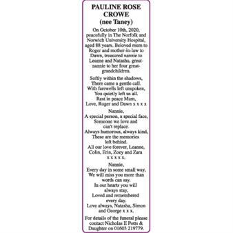 PULINE ROSE (nee Taney) Crowe